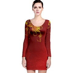 Fire Effect Background  Long Sleeve Velvet Bodycon Dress by amphoto