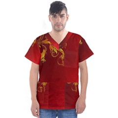Fire Effect Background  Men s V Neck Scrub Top
