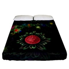 Shapes Circles Flowers  Fitted Sheet (queen Size) by amphoto