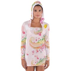 Curl Butterfly Flowers Long Sleeve Hooded T Shirt by amphoto