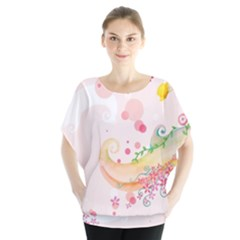 Curl Butterfly Flowers Blouse by amphoto