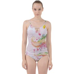 Curl Butterfly Flowers Cut Out Top Tankini Set
