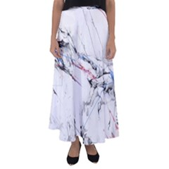 Line Color Background  Flared Maxi Skirt by amphoto