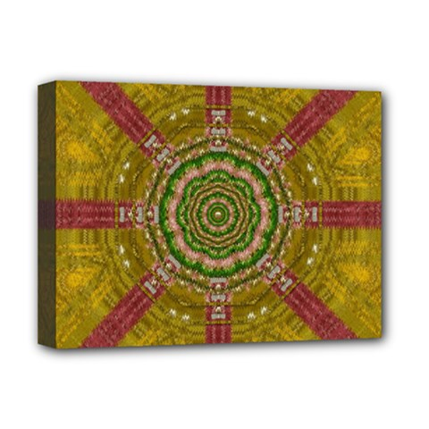 Mandala In Metal And Pearls Deluxe Canvas 16  X 12   by pepitasart