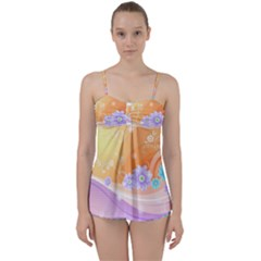 Colors Patterns Lines  Babydoll Tankini Set