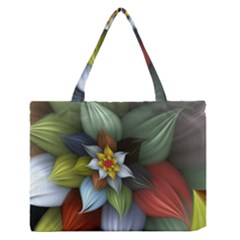 Flower Background Colorful Zipper Medium Tote Bag by amphoto