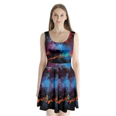 Stains Paint Background  Split Back Mini Dress  by amphoto