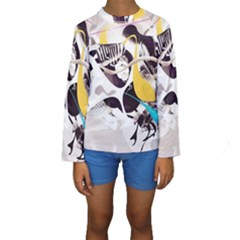 Surrealism Paint Animal  Kids  Long Sleeve Swimwear