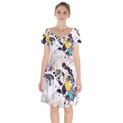 Surrealism Paint Animal  Short Sleeve Bardot Dress
