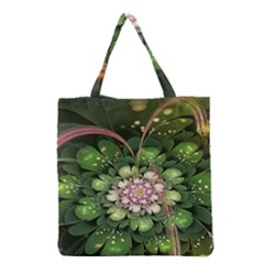 Fractal Flower Petals Green  Grocery Tote Bag by amphoto