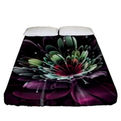 Flower Burst Background  Fitted Sheet (Queen Size)