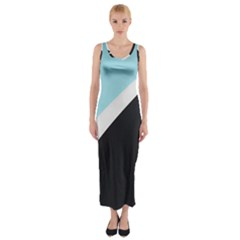 Lines Wavy Strip  Fitted Maxi Dress by amphoto