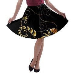 Patterns Butterfly Black Background  A Line Skater Skirt