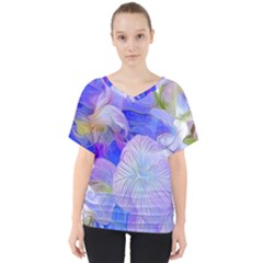 Flowers Abstract Colorful  V Neck Dolman Drape Top by amphoto