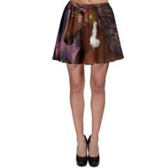 Steampunk Wonderful Wild Horse With Clocks And Gears Skater Skirt by FantasyWorld7