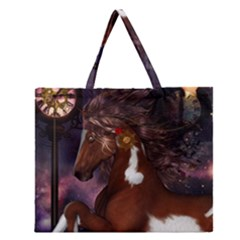 Steampunk Wonderful Wild Horse With Clocks And Gears Zipper Large Tote Bag