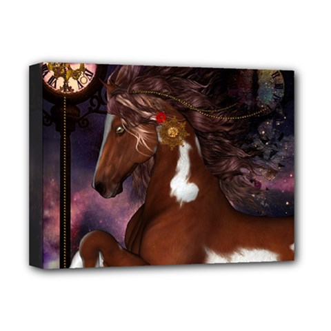 Steampunk Wonderful Wild Horse With Clocks And Gears Deluxe Canvas 16  X 12   by FantasyWorld7