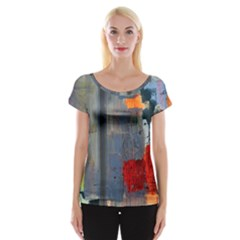 Abstract Paint Stain  Cap Sleeve Tops