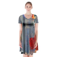 Abstract Paint Stain  Short Sleeve V Neck Flare Dress