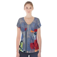 Abstract Paint Stain  Short Sleeve Front Detail Top