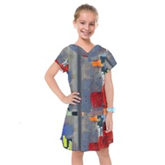 Abstract Paint Stain  Kids  Drop Waist Dress by amphoto