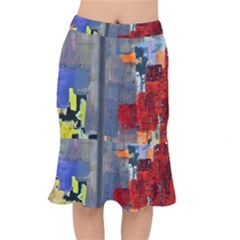 Abstract Paint Stain  Mermaid Skirt by amphoto