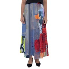 Abstract Paint Stain  Flared Maxi Skirt