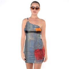 Abstract Paint Stain  One Soulder Bodycon Dress