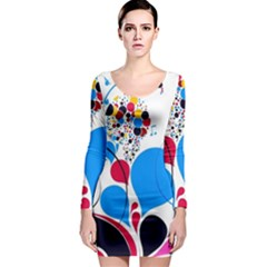 Patterns Colorful Bright  Long Sleeve Bodycon Dress