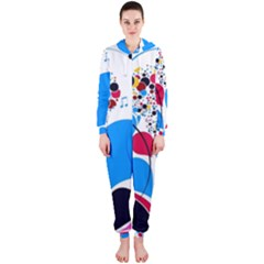 Patterns Colorful Bright  Hooded Jumpsuit (ladies)