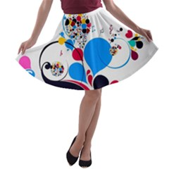 Patterns Colorful Bright  A Line Skater Skirt