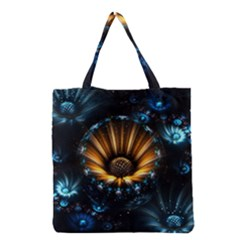 Fractal Flowers Abstract  Grocery Tote Bag by amphoto