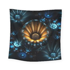 Fractal Flowers Abstract  Square Tapestry (small) by amphoto