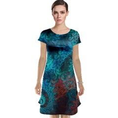Abstract Patterns Spiral  Cap Sleeve Nightdress