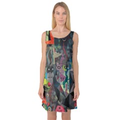 Psychedelic Abstraction Pattern  Sleeveless Satin Nightdress by amphoto