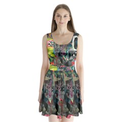 Psychedelic Abstraction Pattern  Split Back Mini Dress  by amphoto