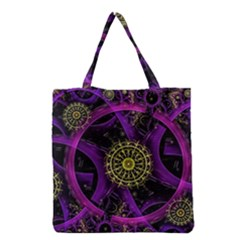 Fractal Neon Rings  Grocery Tote Bag by amphoto