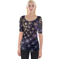 Fractal Patterns Dark Wide Neckline Tee by amphoto