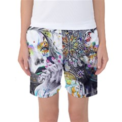 Abstraction Painting Girl  Women s Basketball Shorts by amphoto