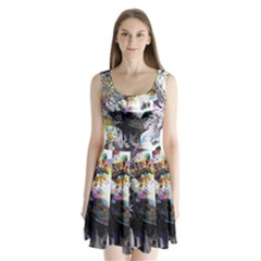 Abstraction Painting Girl  Split Back Mini Dress  by amphoto
