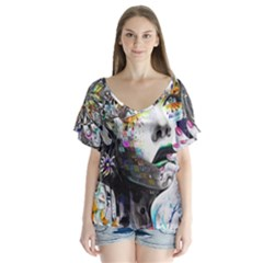 Abstraction Painting Girl  V Neck Flutter Sleeve Top by amphoto