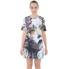 Abstraction Painting Girl  Mini Dress by amphoto