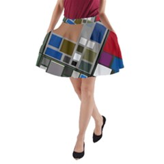 Abstract Composition A Line Pocket Skirt