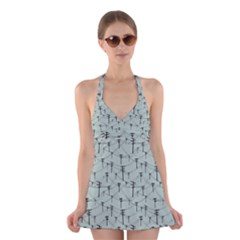 Telephone Lines Repeating Pattern Halter Swimsuit Dress