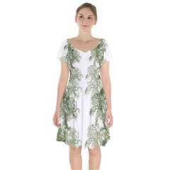 Trees Tile Horizonal Short Sleeve Bardot Dress