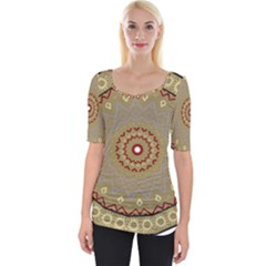 Mandala Art Ornament Pattern Wide Neckline Tee