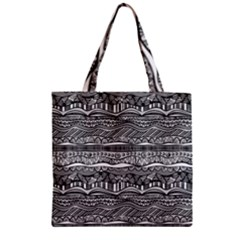 Ethno Seamless Pattern Zipper Grocery Tote Bag