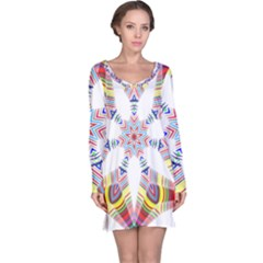 Colorful Chromatic Psychedelic Long Sleeve Nightdress