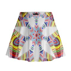 Colorful Chromatic Psychedelic Mini Flare Skirt