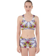 Colorful Chromatic Psychedelic Work It Out Sports Bra Set